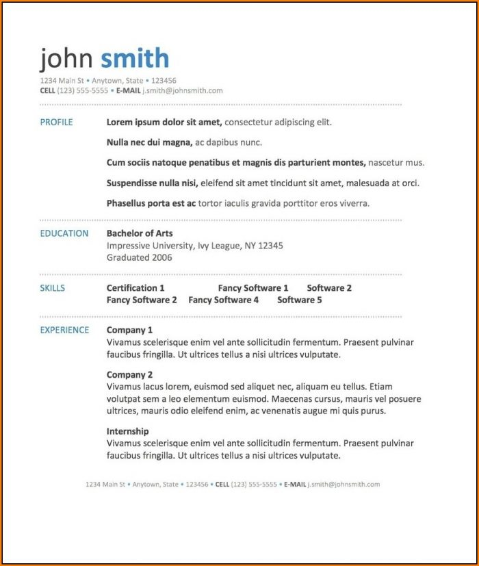 Best Free Resume Templates 2018 Word