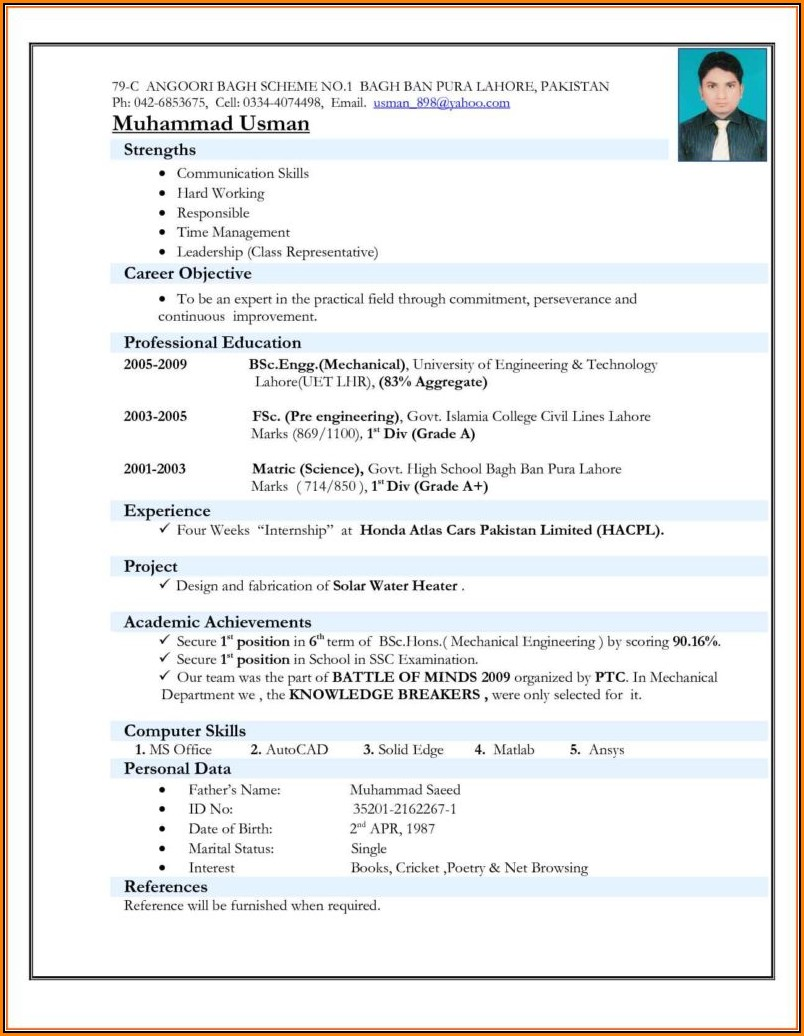 Best Resume Format Pdf Download
