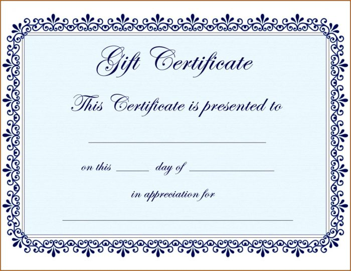Blank Certificate Of Appreciation Template