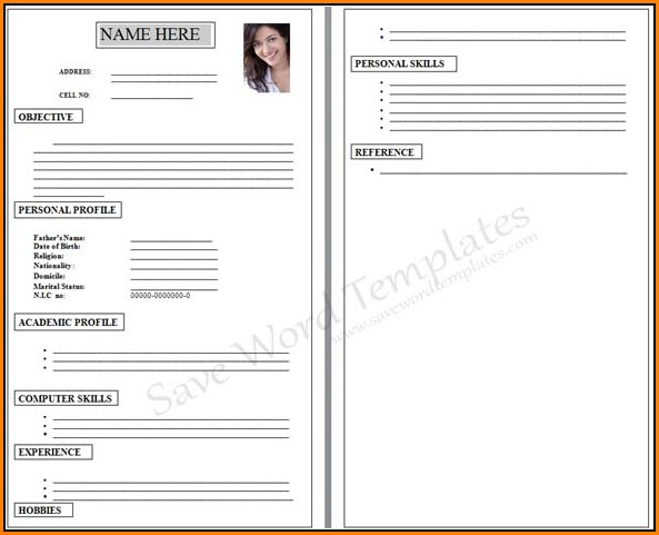 Blank Cv Form For Job Application