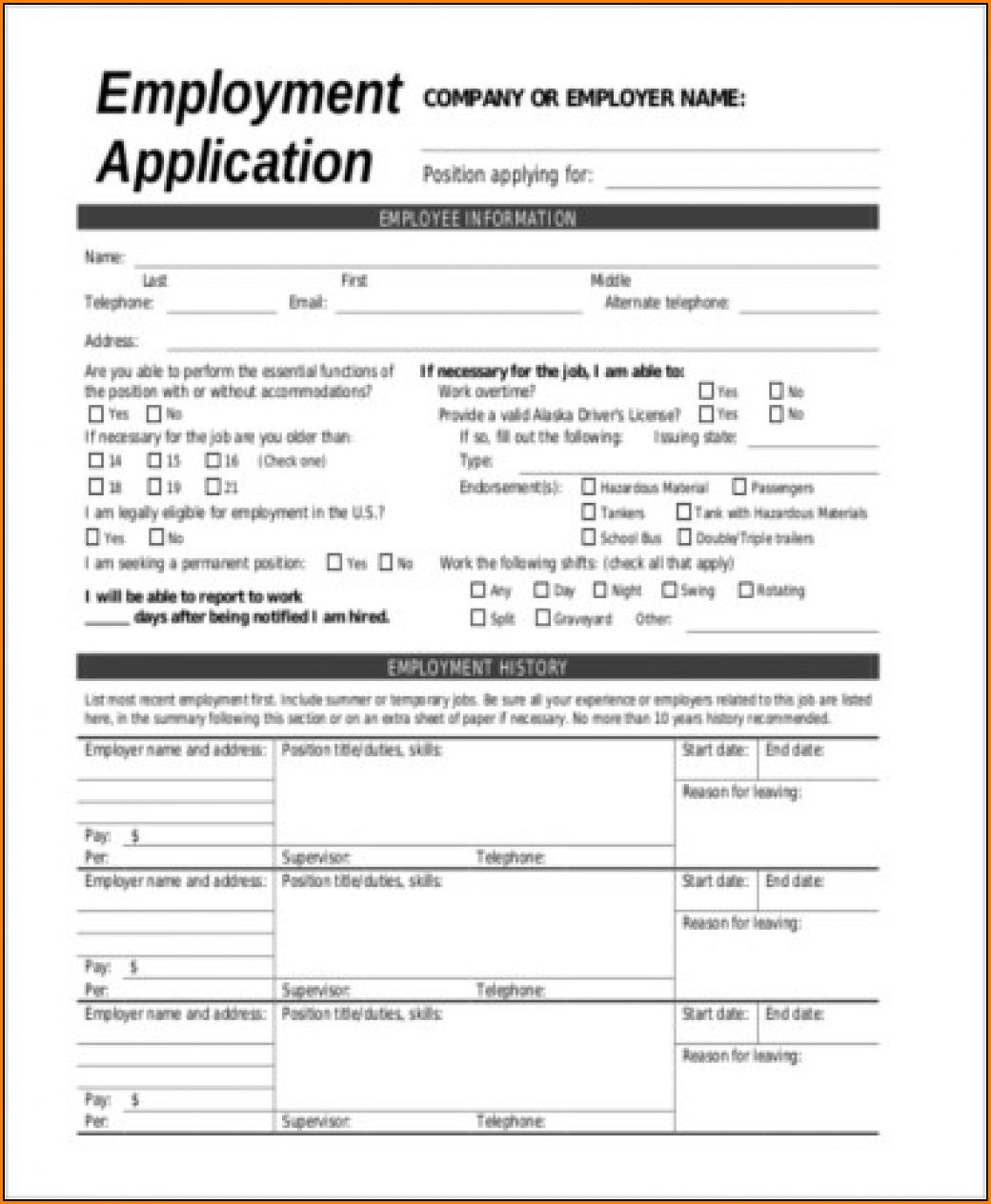 Blank General Employment Application Form