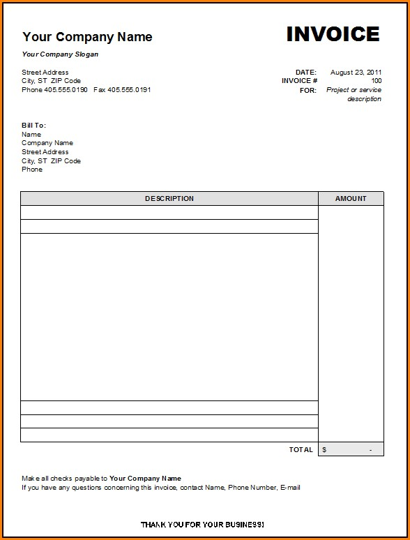 Blank Invoice Form Free