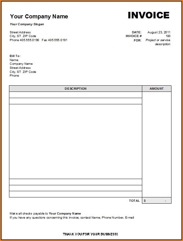 Blank Invoice Form Free