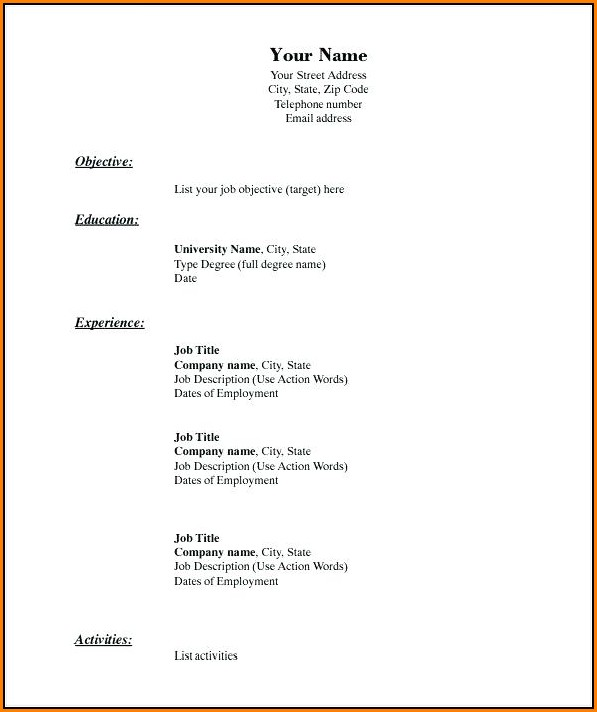 Blank Resume Examples Free