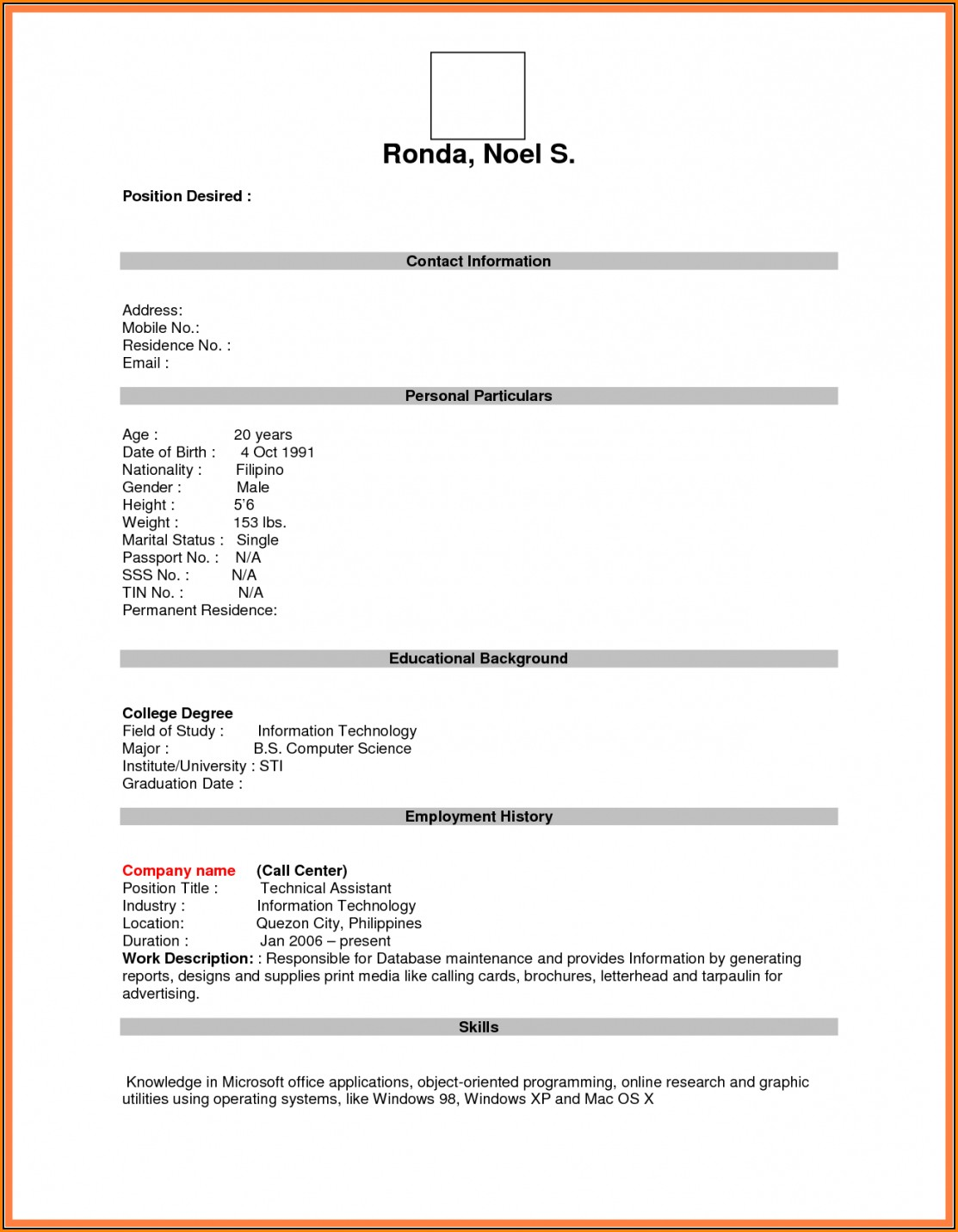 Blank Resume Form For Job Application Download