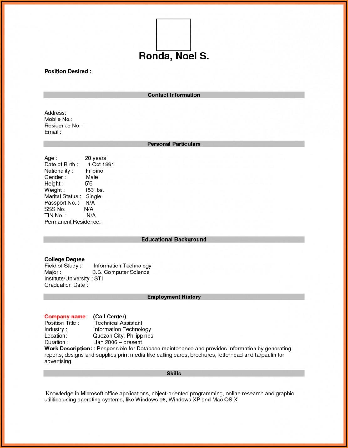 Blank Resume Form For Job Application Download