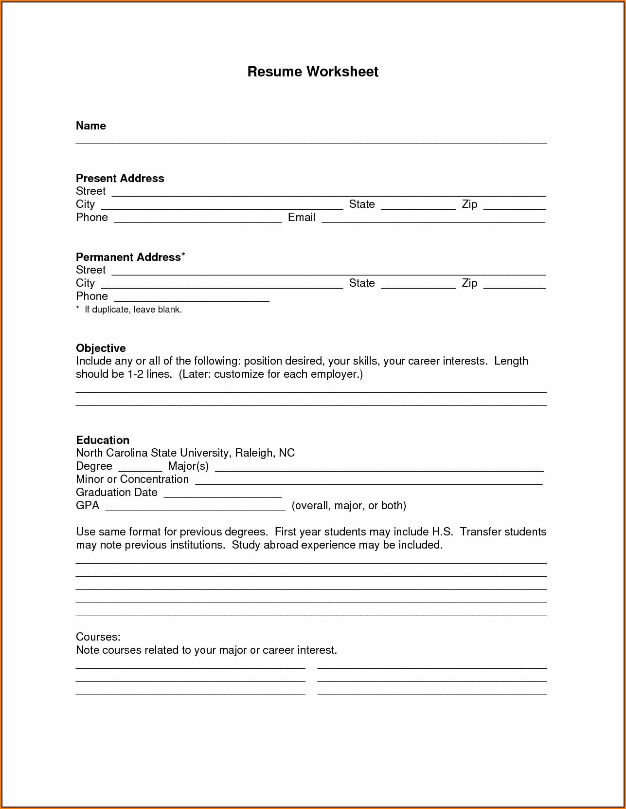 Blank Resume Form