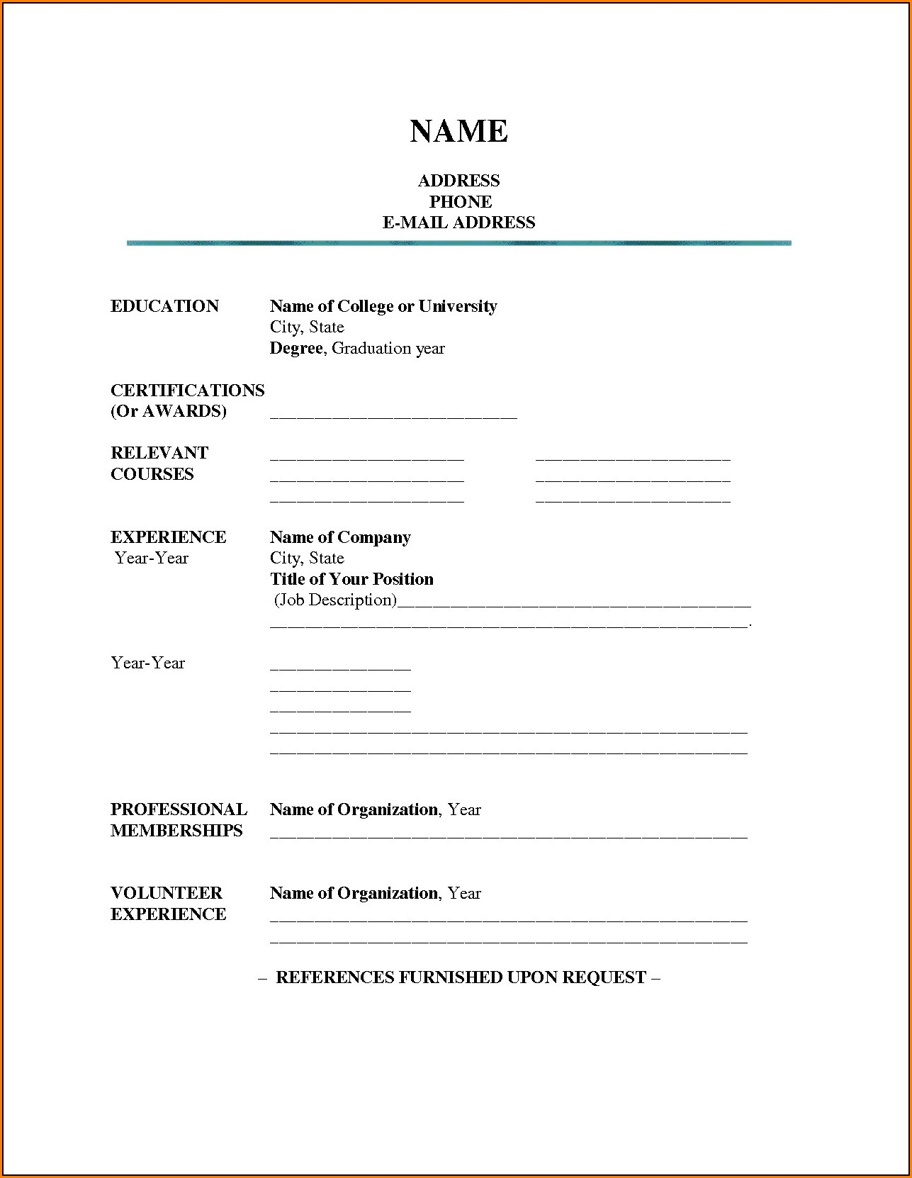 Blank Resume Format Download In Ms Word