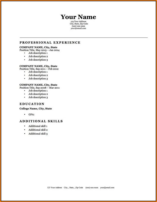 Blank Resume Template Microsoft Word