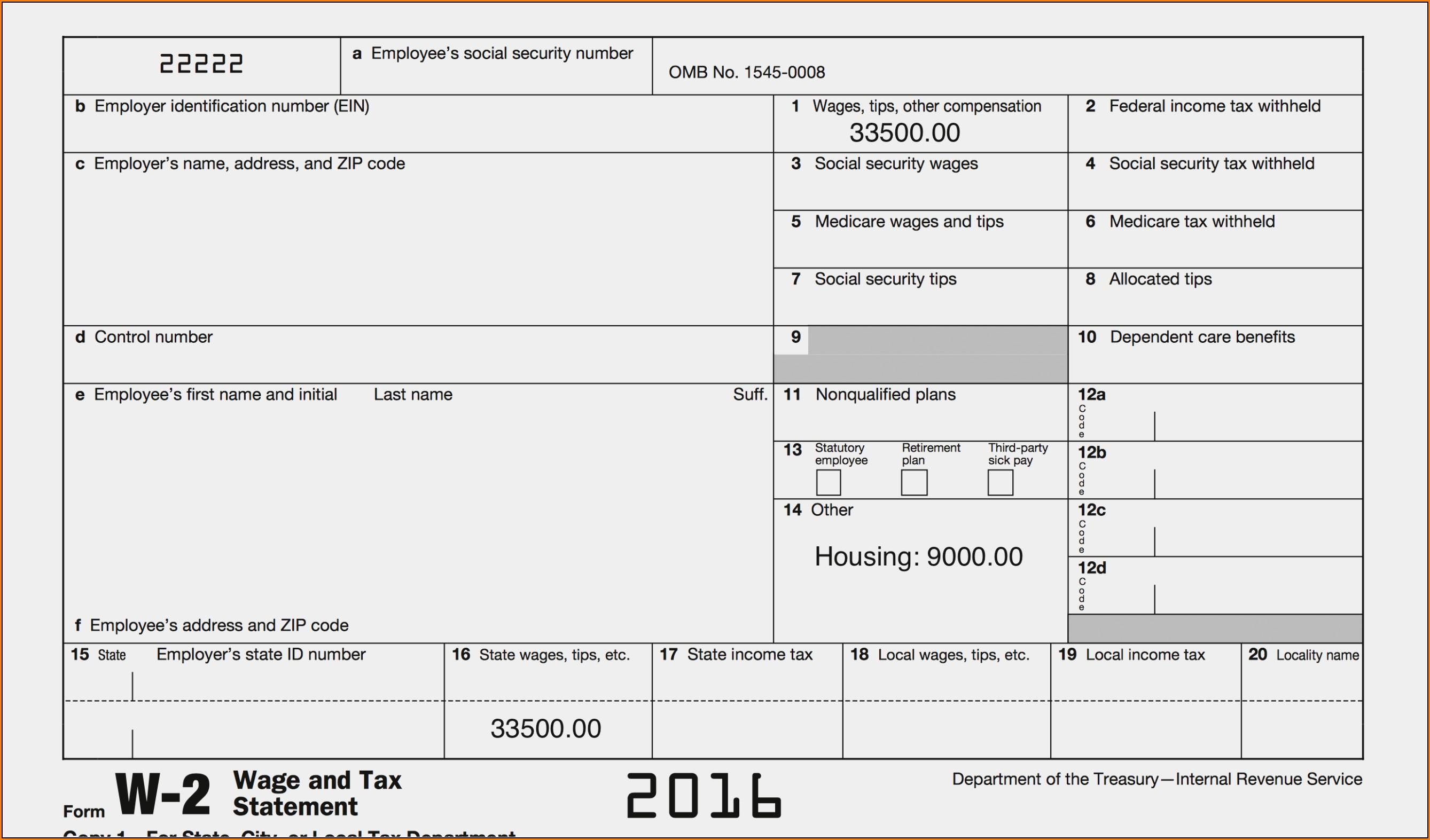 Blank W2 Form 2016