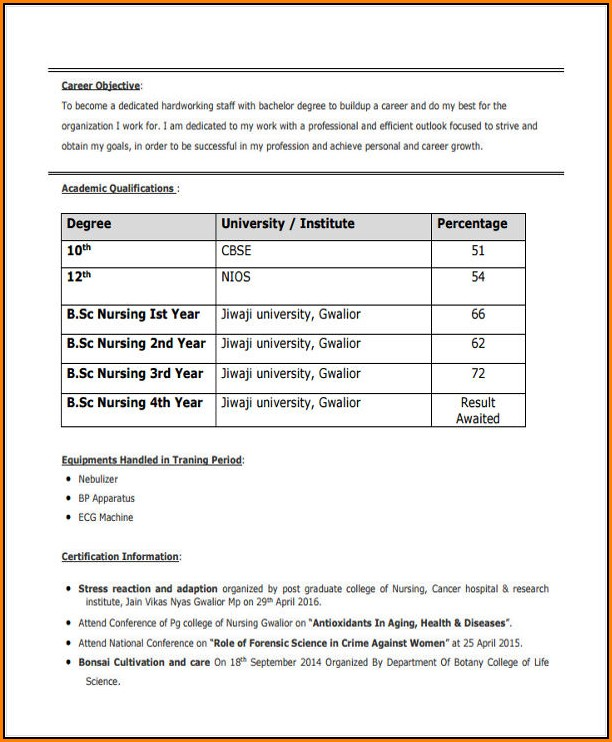 Bsc Nursing Resume Format For Freshers Pdf