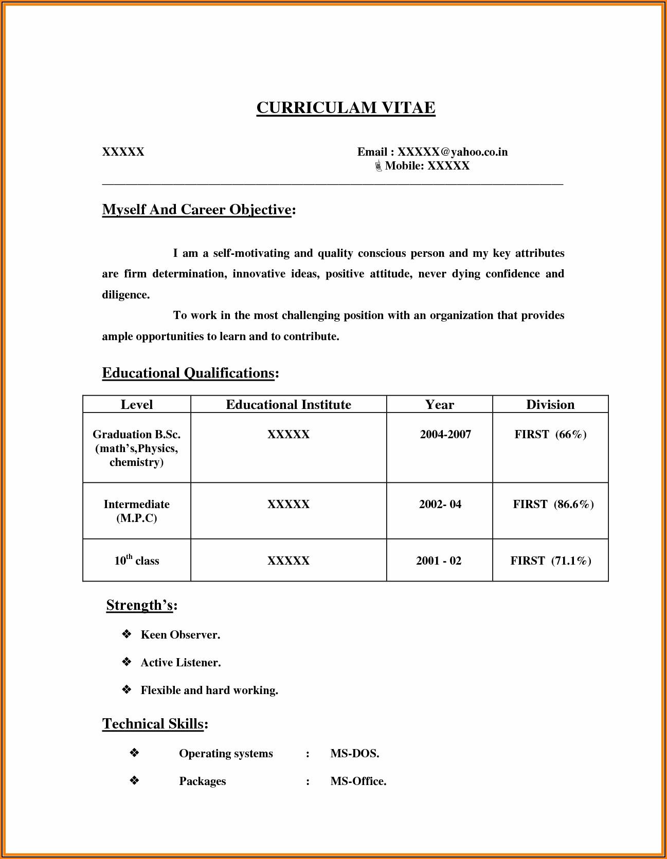Bsc Nursing Resume Format For Freshers