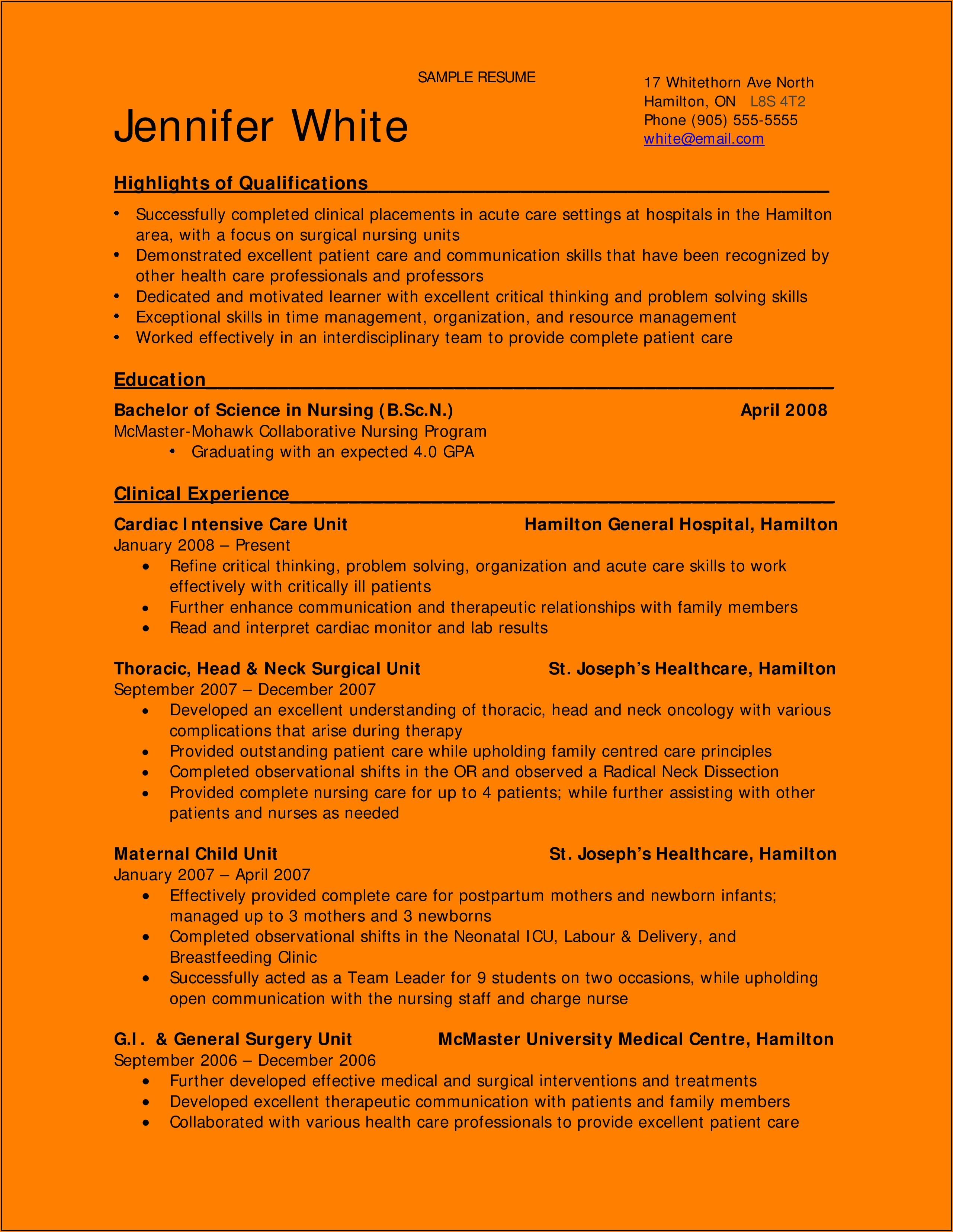 Bsc Nursing Resume Format