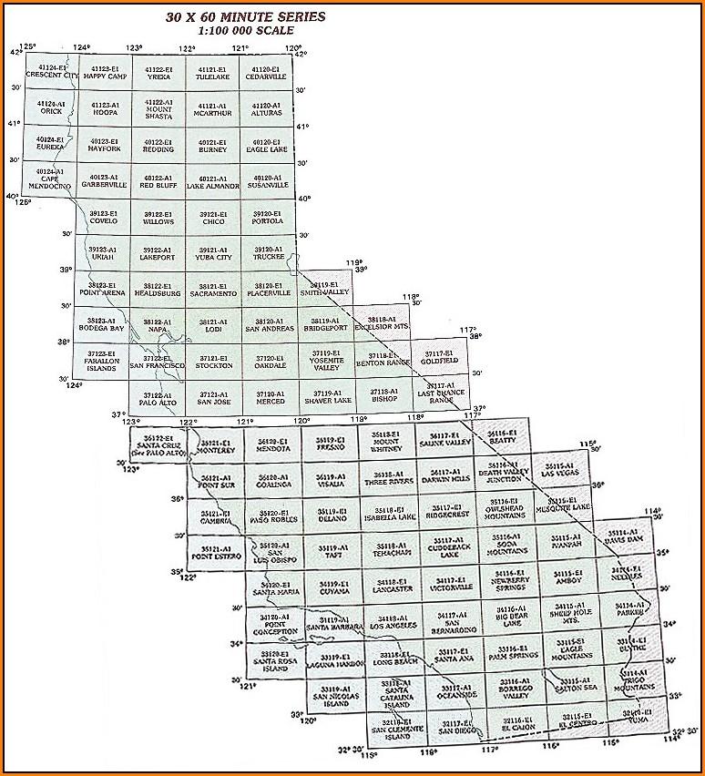 California Topo Map Index