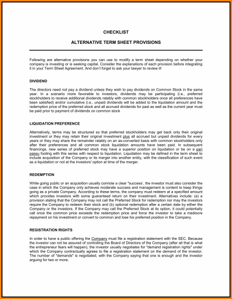 Contract Term Sheet Template