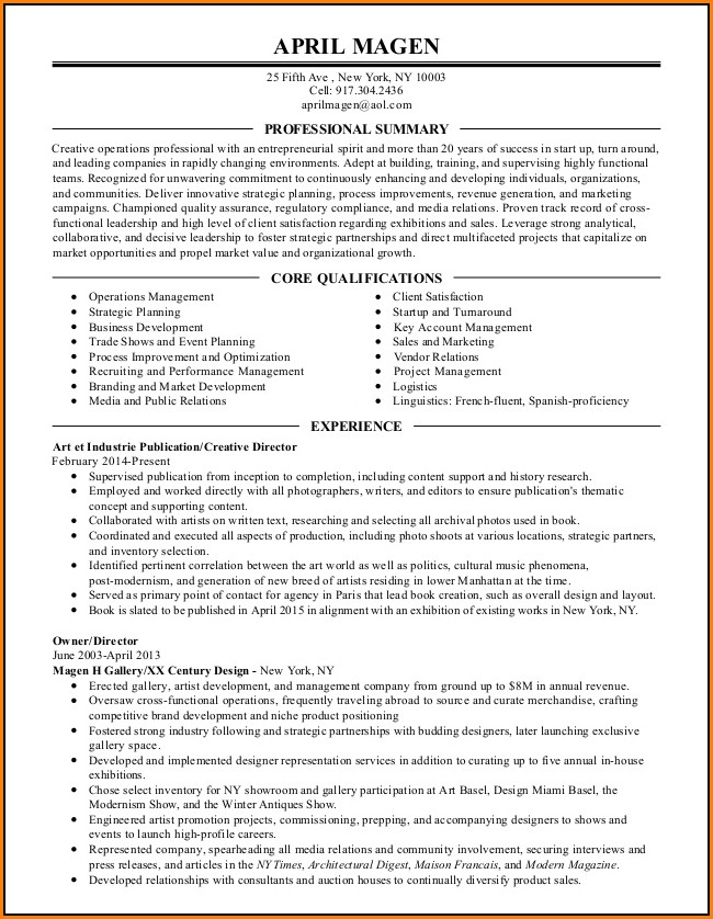 Copies Of Professional Resumes