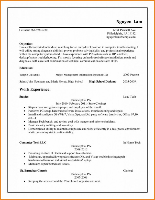Copies Of Resumes Format