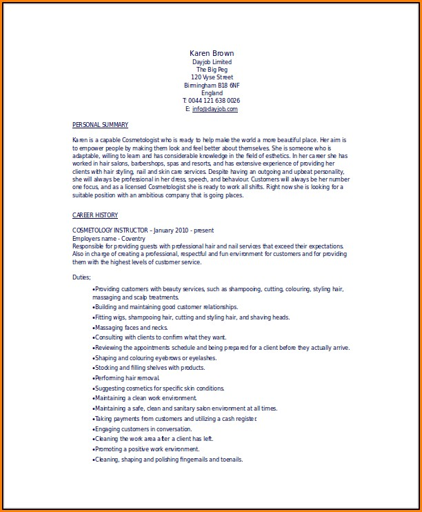 Cosmetology Resume Templates