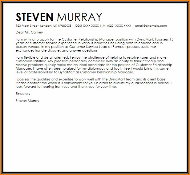 Customer Relationship Manager Cover Letter
