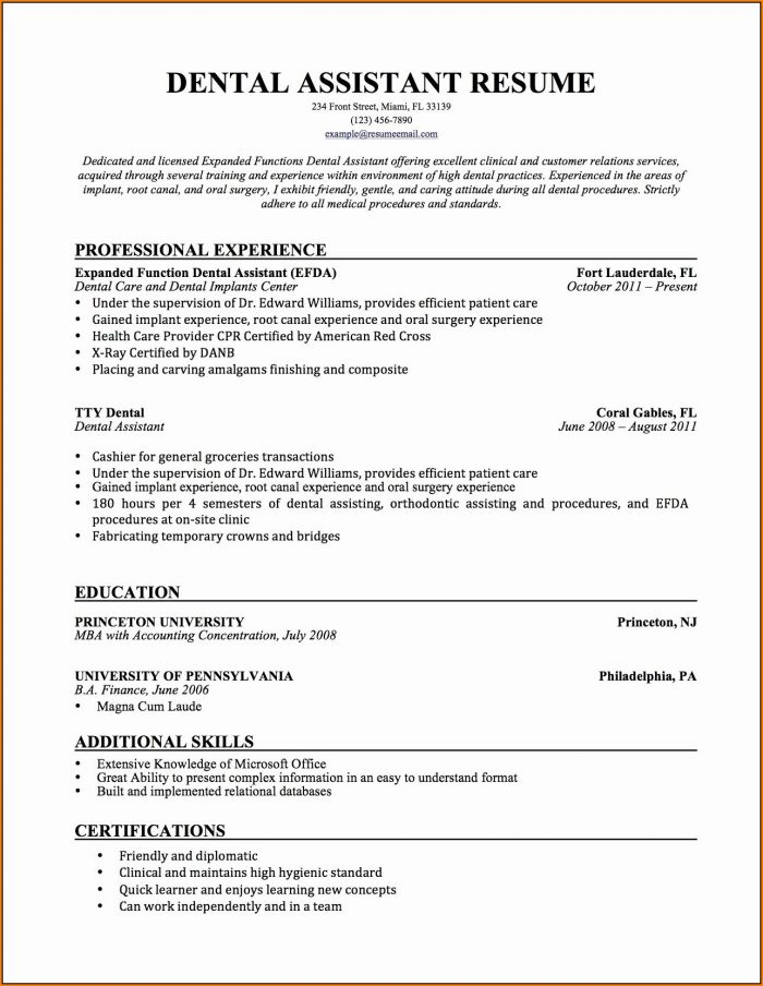 Dental Assistant Resumes
