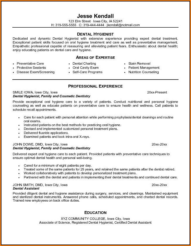 Dental Hygiene Resume Templates