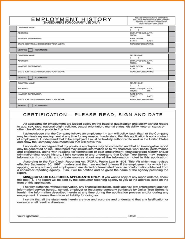 Dollar Tree Employment Application Form Online