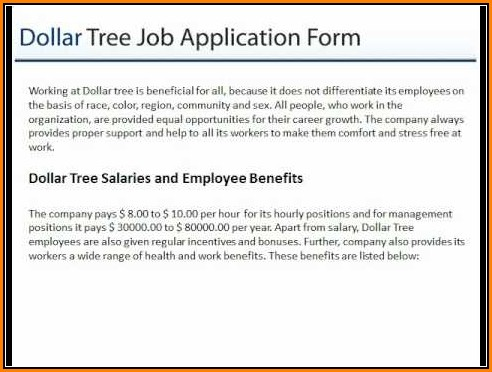 Dollar Tree Job Application Form Online