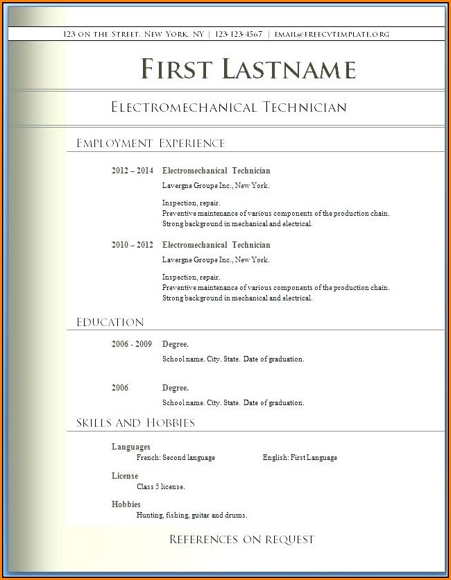 Download Free Resume Templates For Word