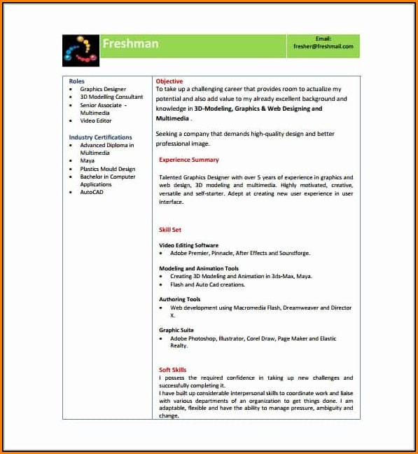 Download Resume Templates For Freshers