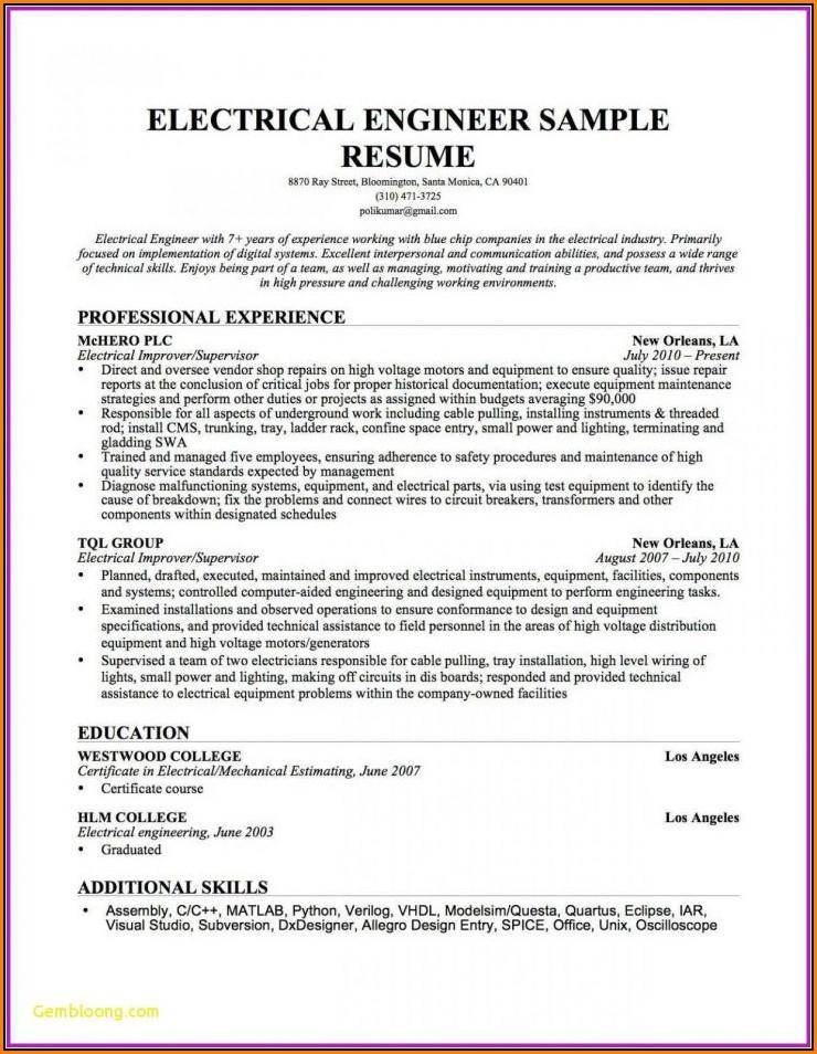 Electrician Resume Template Microsoft Word