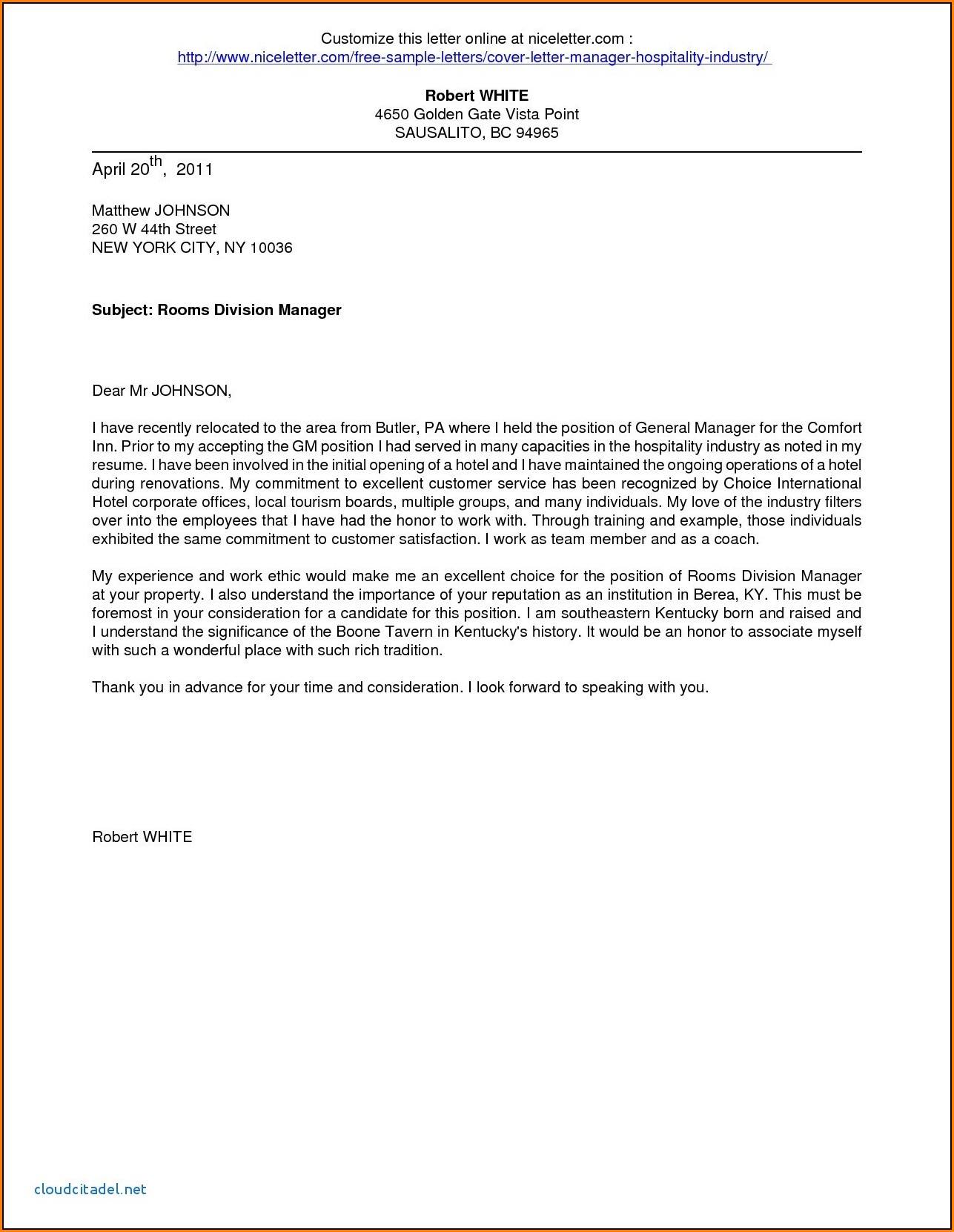 Example Application Letter For Hotel And Restaurant Management