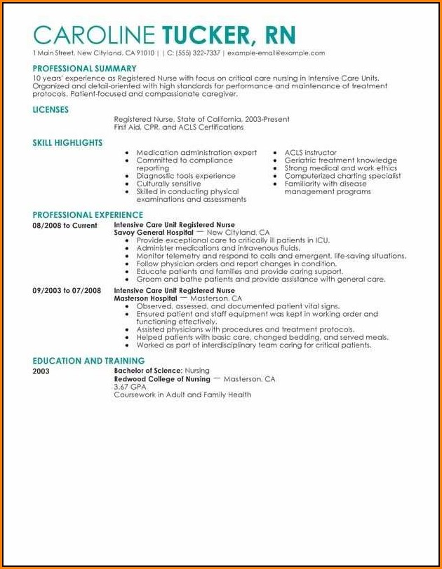 Example Of Resume For Registered Nurse