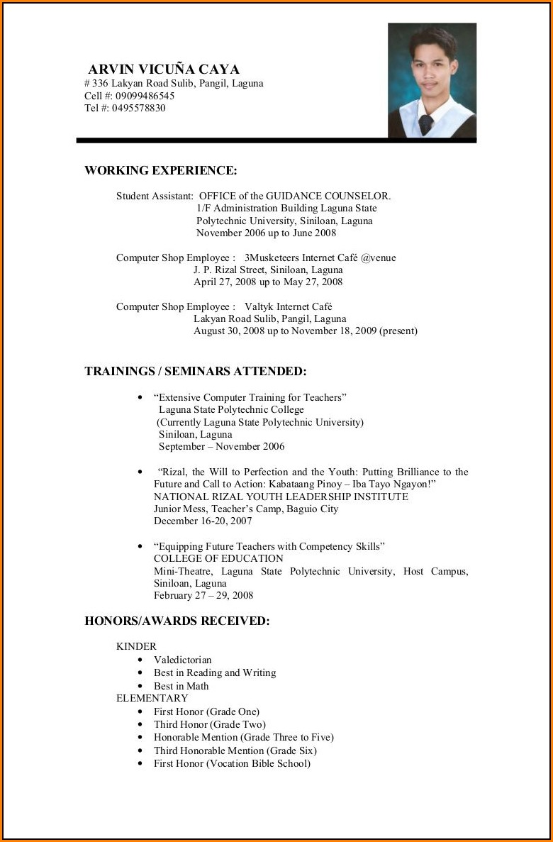Examples Of Resumes For Education Jobs