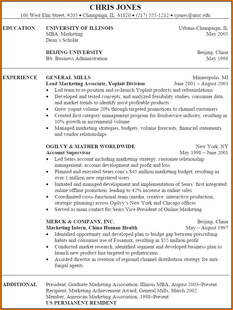 Examples Of Resumes For Marketing Jobs