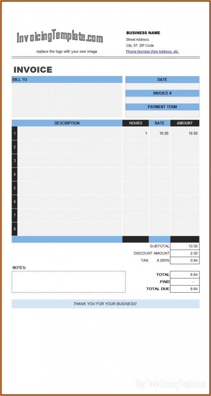 Excel Invoice Template With Automatic Invoice Numbering Free Download