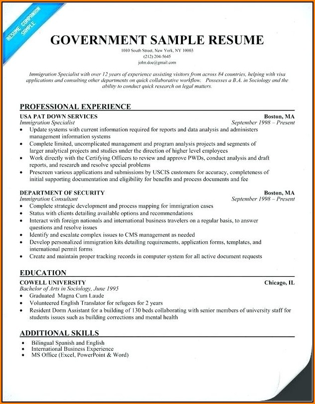 Federal Resume Builder Example