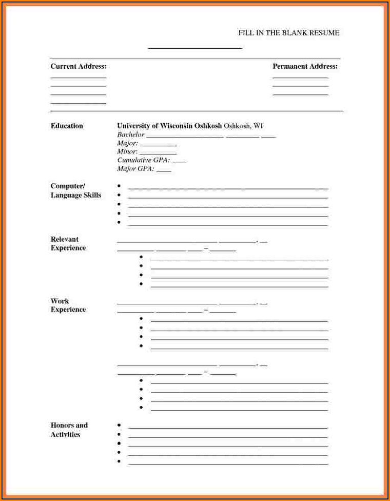 Fillable Blank Resume Template