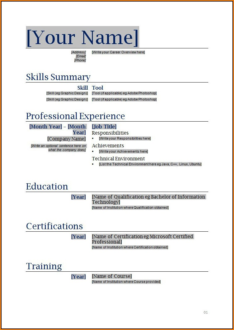 Fillable Resume Free