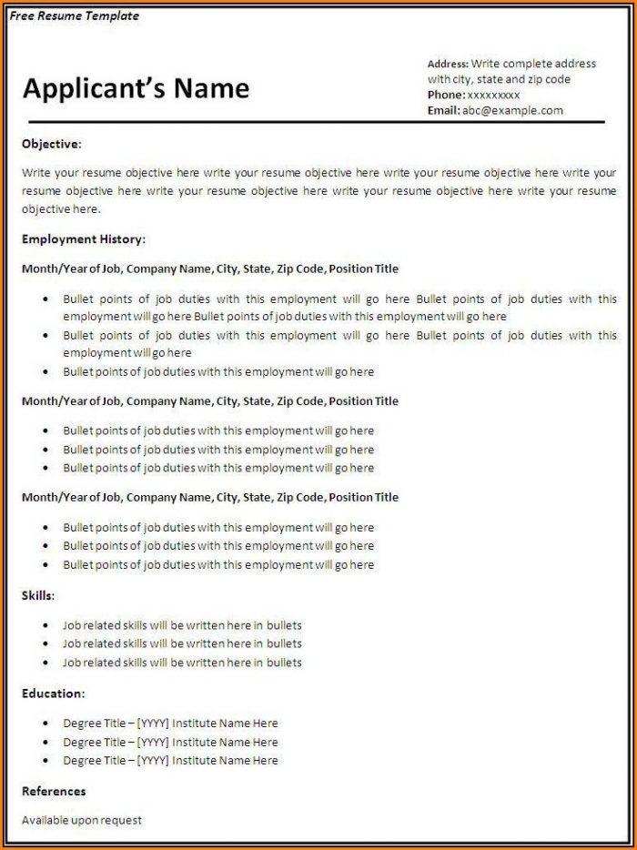 Fillable Resume Template Free
