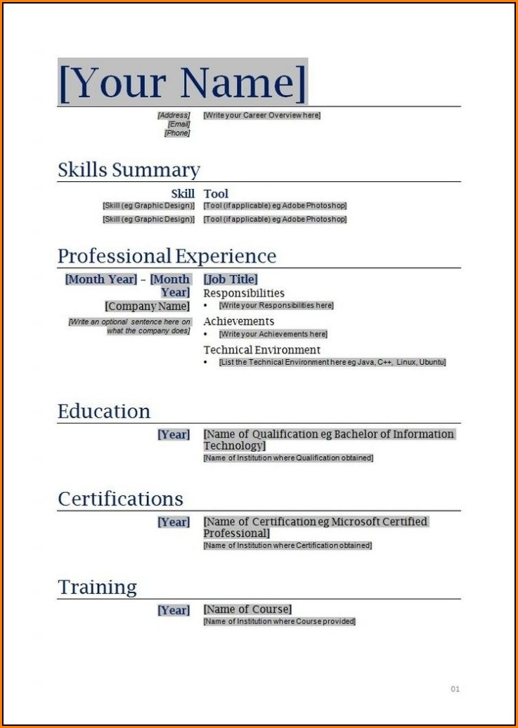 Fillable Resume Template