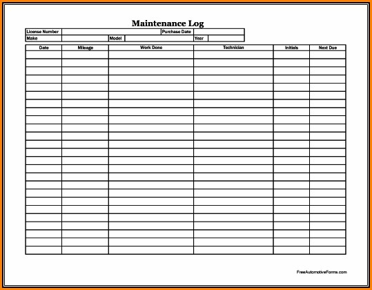 Fleet Vehicle Maintenance Log Template