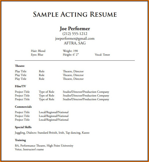 Free Acting Resume Template Download