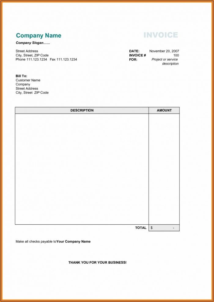 Free Basic Invoice Template Uk