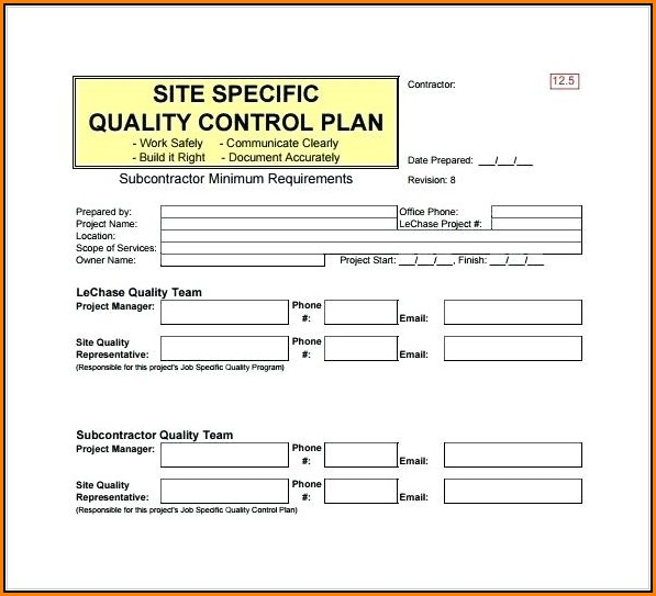 Free Construction Quality Control Plan Template