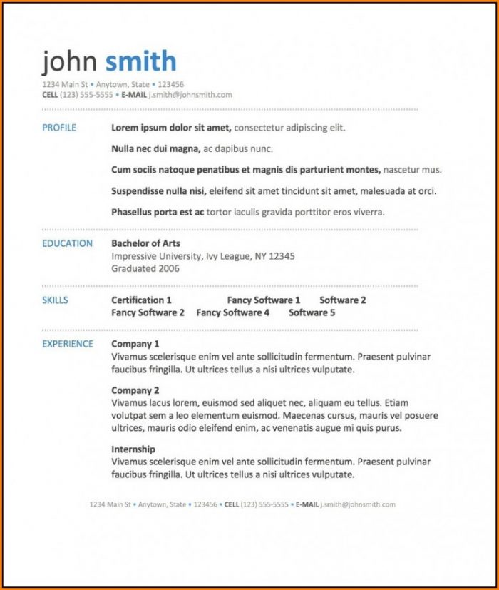 Free Download Resume Templates 2018
