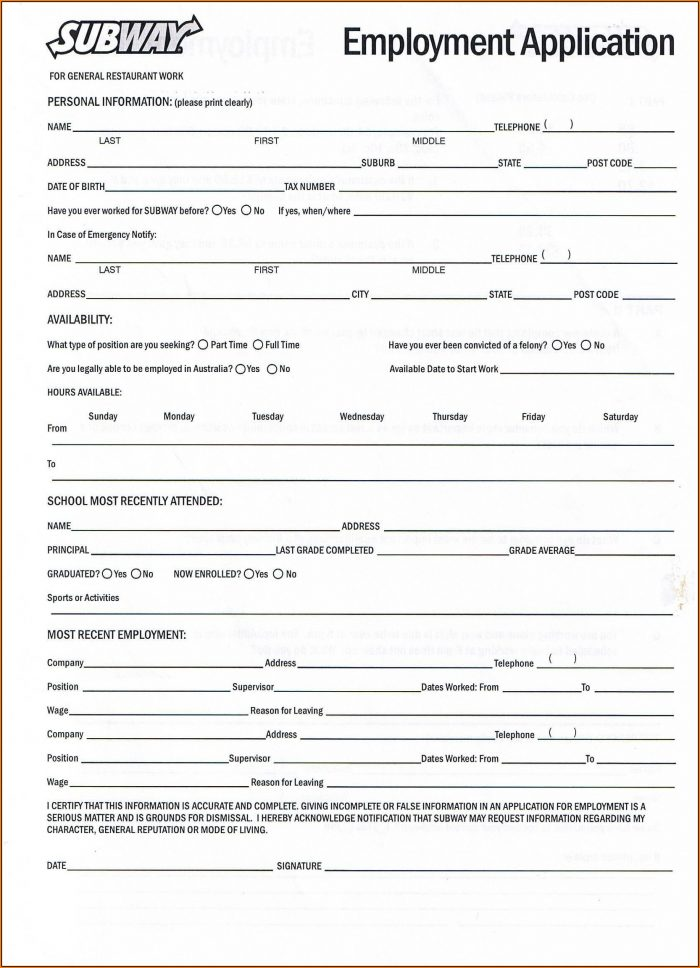 Free Job Application Forms Printable