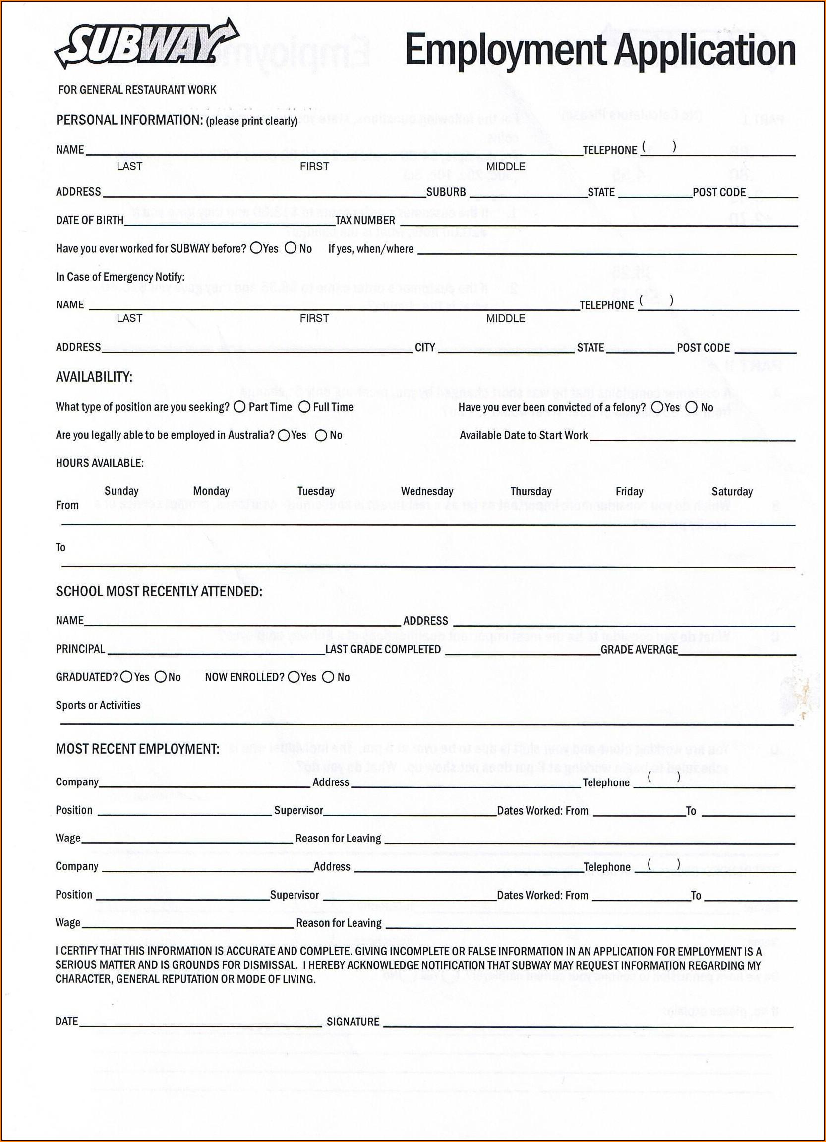 Free Job Application Forms Printable