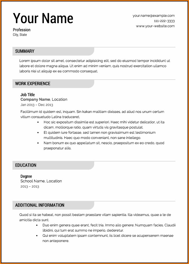 Free Job Resume Templates