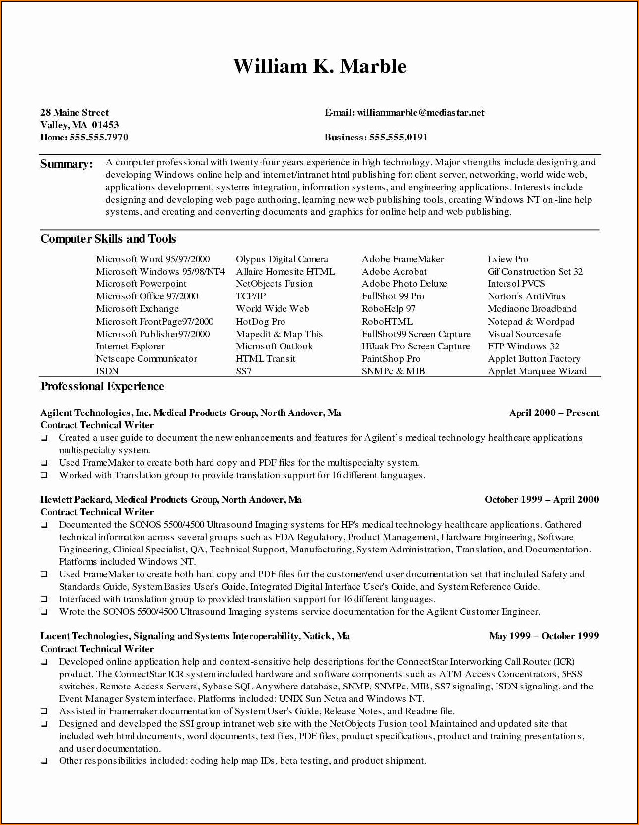 Free Medical Resume Templates Microsoft Word