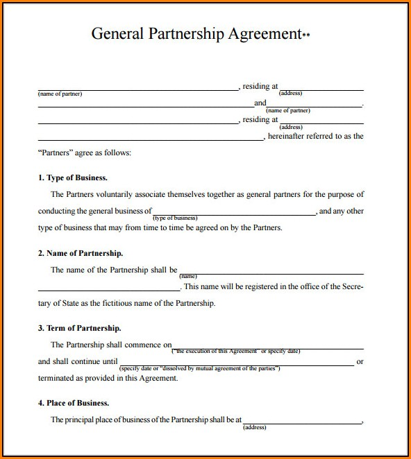 free partnership agreement form pdf
